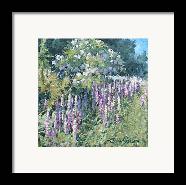 Lupine Field Framed Print featuring the painting Lupine On Parade by L Diane Johnson