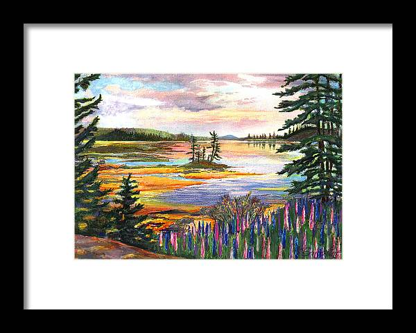 Lupines Framed Print featuring the painting Lupine Sunrise by Ernestine Grindal