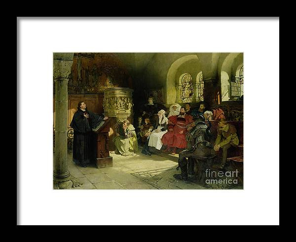 Vogel Framed Print featuring the painting Luther Preaches Using His Bible Translation While Imprisoned At Wartburg by Hugo Vogel