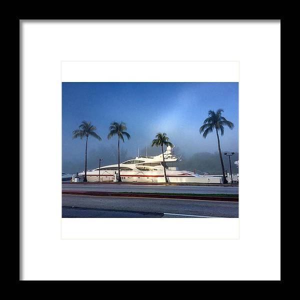 Transportation Framed Print featuring the photograph Luxury Yacht At Foggy Miami Beach by Juan Silva