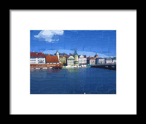 Landscape Framed Print featuring the photograph Luzern Lake Front by Chuck Shafer