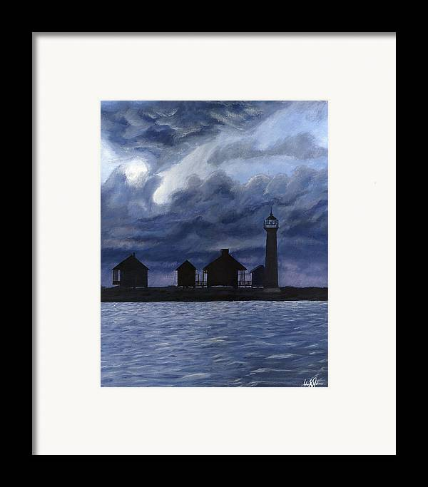 Landscape Framed Print featuring the painting Lydia Ann Lighthouse by Adam Johnson