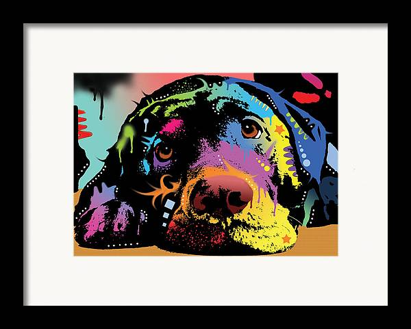 Labrador Framed Print featuring the painting Lying Lab by Dean Russo