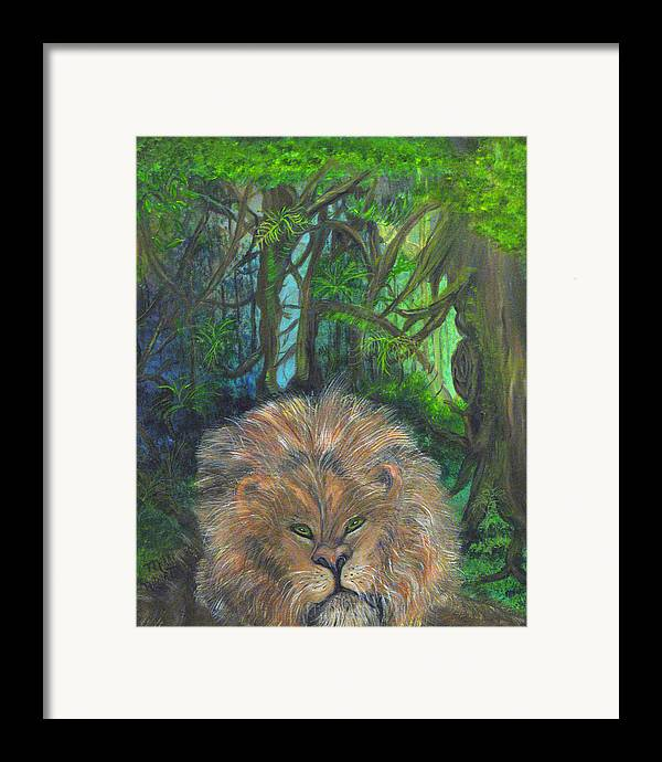 Lion Framed Print featuring the painting Lying Lion by Mikki Alhart