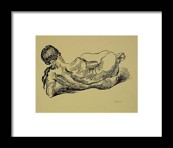 Woman Framed Print featuring the drawing Lying Nude Woman by Vitali Komarov