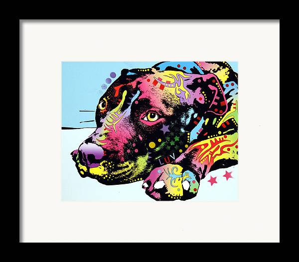 Dog Framed Print featuring the painting Lying Pit Luv by Dean Russo
