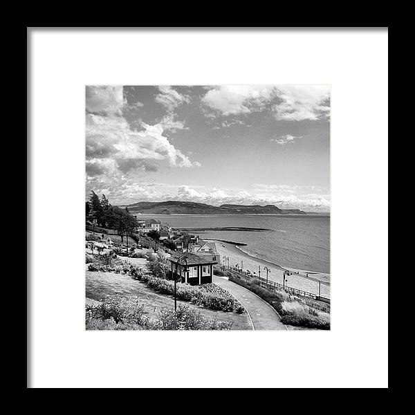 Blackandwhitephotography Framed Print featuring the photograph Lyme Regis And Lyme Bay, Dorset by John Edwards