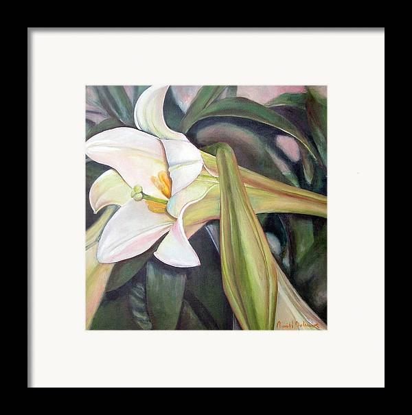 Floral Painting Framed Print featuring the painting Lys by Muriel Dolemieux