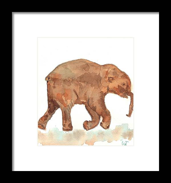Baby Mammoth Framed Print featuring the painting Lyuba The Ice Baby Mammoth by Warren Thompson