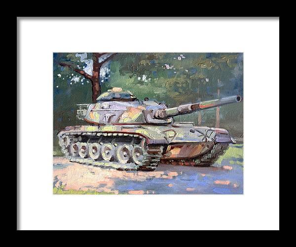 Landscape Framed Print featuring the painting M60 A3 Desert Storm Tank- Plein Air by Larry Seiler
