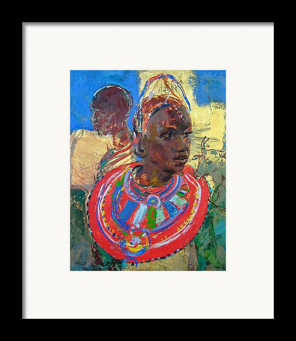 Africa Framed Print featuring the painting Maasai Daydream by Michelle Philip