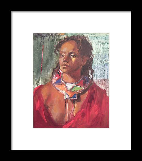 African Painting Framed Print featuring the print Maasai Pride by Michelle Philip