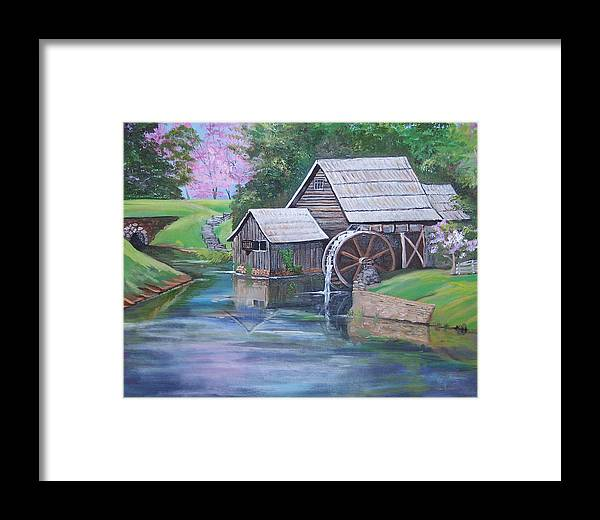 Landscape Framed Print featuring the painting Mabry Mill by Audrie Sumner