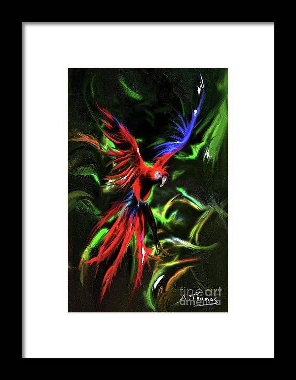 Macaw Framed Print featuring the digital art Macaw Parrot by Alex Thomas