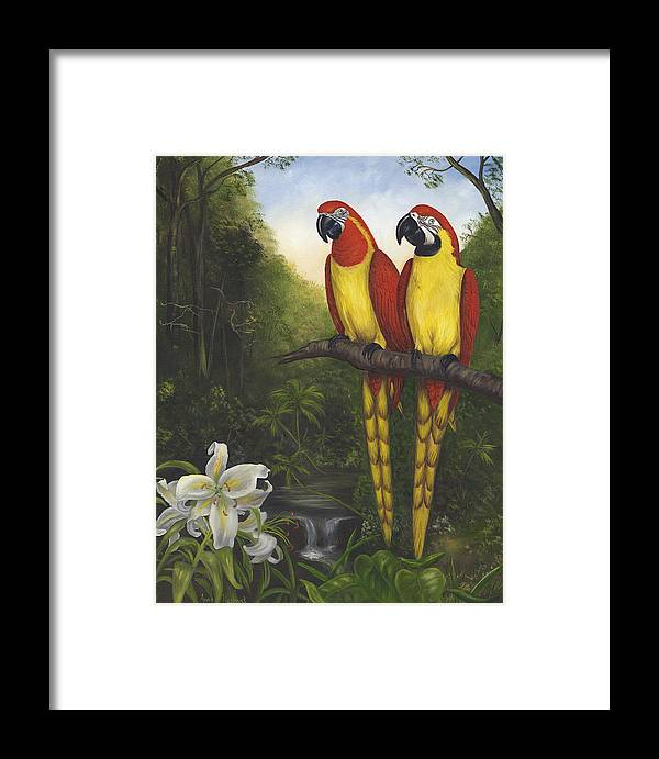 Landscape Framed Print featuring the painting Macaws And Lillies by Anne Kushnick