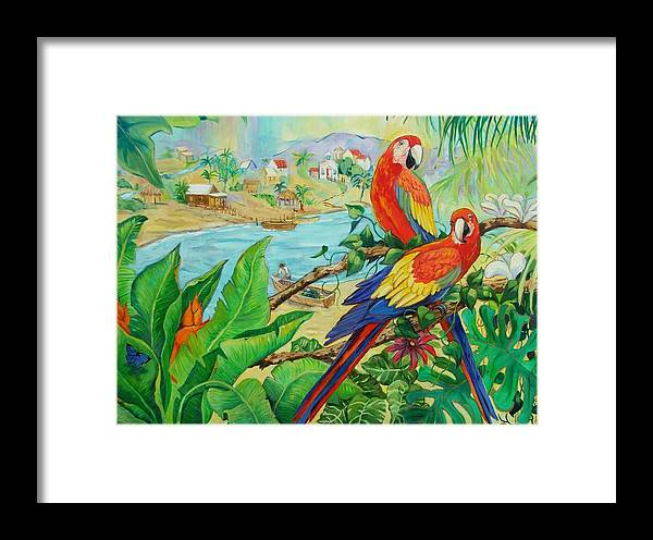 Birds Framed Print featuring the painting Macaws by Dianna Willman