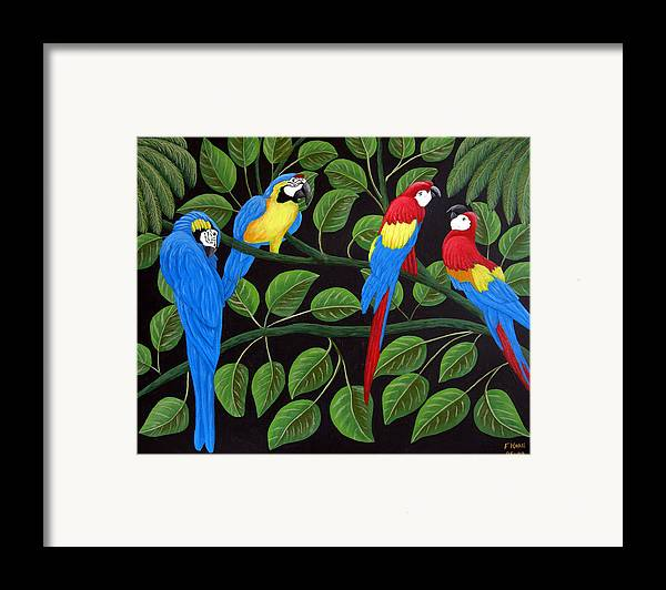 Birds Paintings Framed Print featuring the painting Macaws by Frederic Kohli