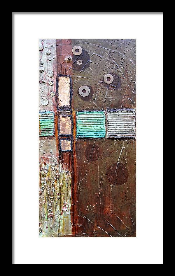 Abstract Collage Framed Print featuring the painting Machine Shop 1 by Ginger Concepcion