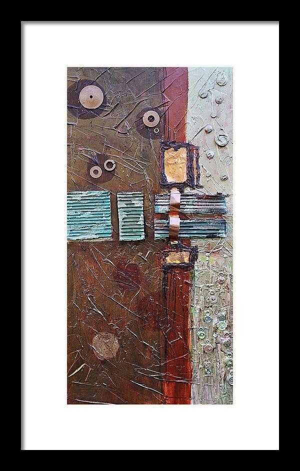 Metal Abstract Framed Print featuring the painting Machine Shop 2 by Ginger Concepcion