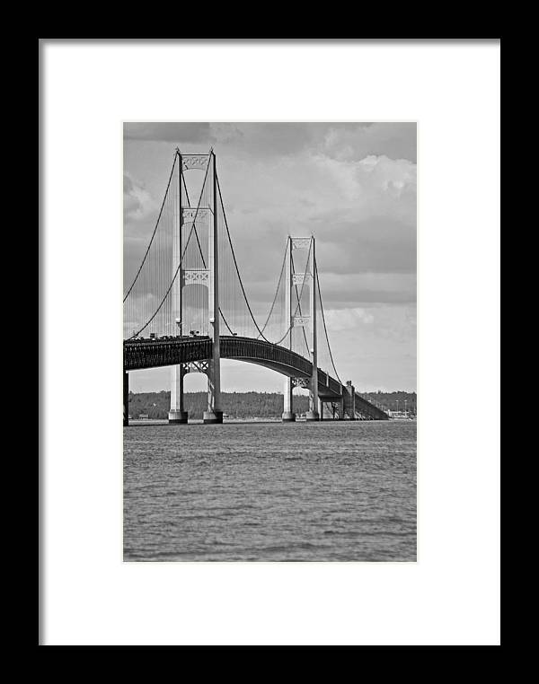 America Framed Print featuring the photograph Mackinac Bridge 6111 by Michael Peychich