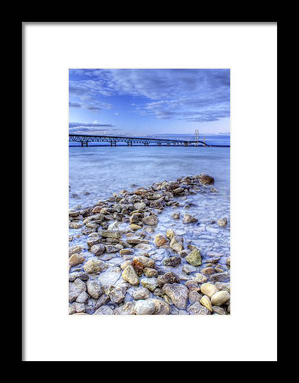 Mackinac Framed Print featuring the photograph Mackinac Bridge From The Beach by Twenty Two North Photography