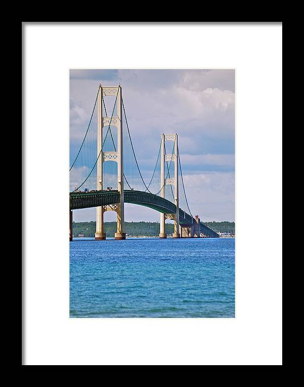 America Framed Print featuring the photograph Mackinac Bridge by Michael Peychich