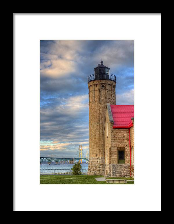 Mackinac Framed Print featuring the photograph Mackinac Lighthoue And Bridge by Twenty Two North Photography