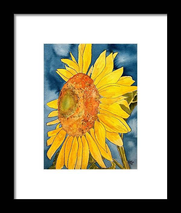 Sunflower Framed Print featuring the painting Macro Sunflower Art by Derek Mccrea