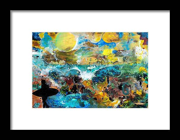 Surf Framed Print featuring the painting Mad Man Comin by Nathan Paul Gibbs