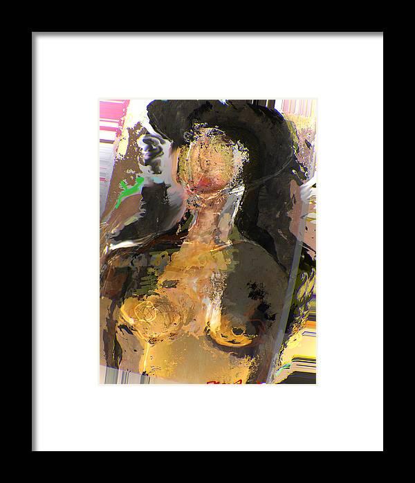 Black Hair Framed Print featuring the mixed media Madam Bouran by Noredin Morgan