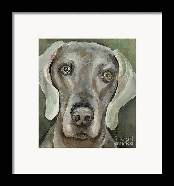 Dog Framed Print featuring the painting Maddie by Linda Vespasian