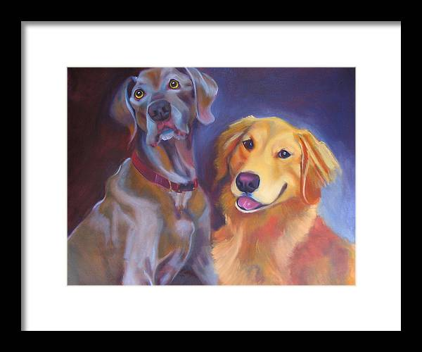 Dog Portrait Framed Print featuring the painting Maddy And Teddy by Kaytee Esser