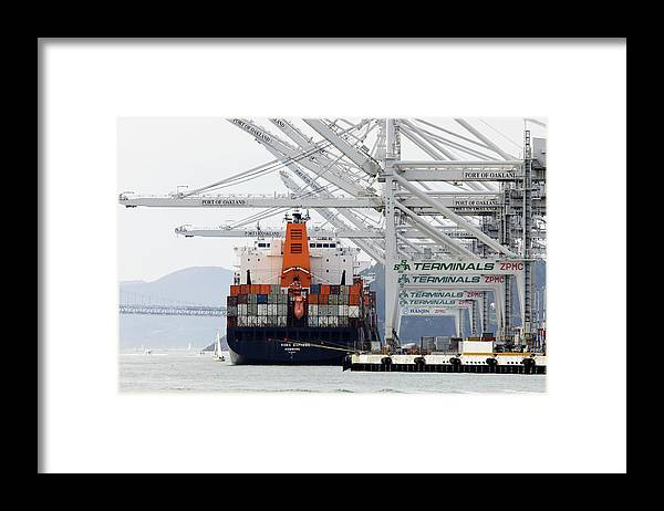 Made In China Framed Print featuring the photograph Made In China -- Container Ship Kobe Express At Port Of Oakland, California by Darin Volpe