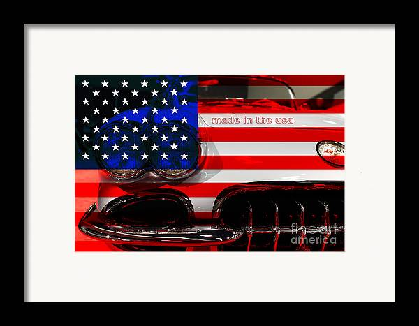 1956 Chevy Corvette Framed Print featuring the photograph Made In The Usa . Chevy Corvette by Wingsdomain Art and Photography