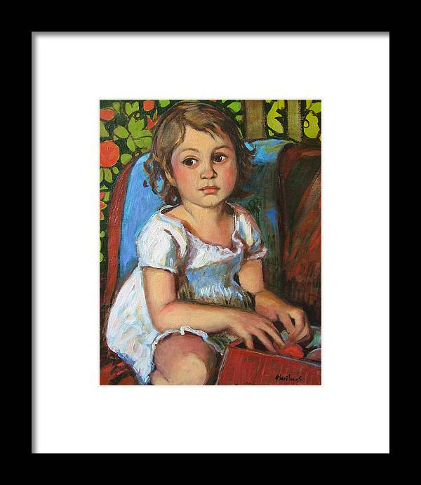 Portraits Framed Print featuring the painting Madeline And The White Dress by Marilene Sawaf