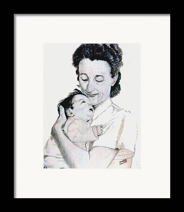 Madona Framed Print featuring the drawing Madona And Baby by Stan Hamilton
