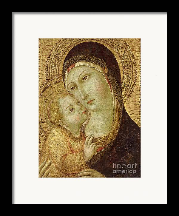 Madonna Framed Print featuring the painting Madonna And Child by Ansano di Pietro di Mencio