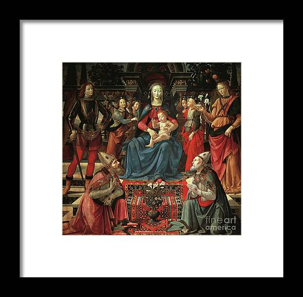 Ghirlandaio Framed Print featuring the painting Madonna And Child Enthroned With Saints by Domenico Ghirlandaio