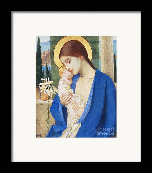 Virgin Mary; Infant Christ; Jesus; Halo Framed Print featuring the painting Madonna And Child by Marianne Stokes