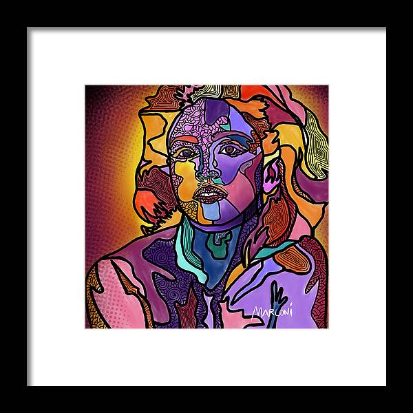 Madonna Framed Print featuring the digital art Madonna The Rebel by Marconi Calindas
