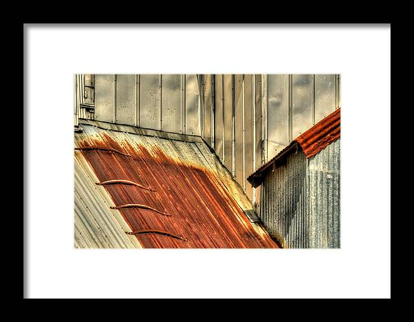1996 Framed Print featuring the photograph Madsen Grain Roof by Jerry Sodorff