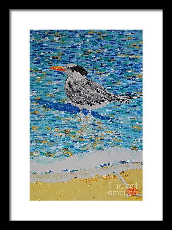 Beach Scene Framed Print featuring the painting Maestro Of The Beach by Art Mantia