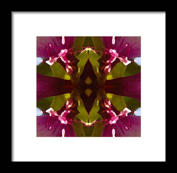 Abstract Painting Framed Print featuring the digital art Magent Crystal Flower by Amy Vangsgard