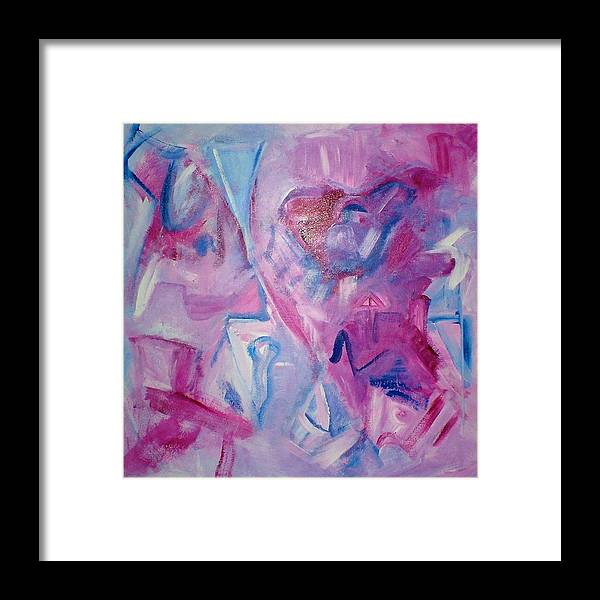 Abstract Framed Print featuring the painting Magenta Blues by Rashne Baetz