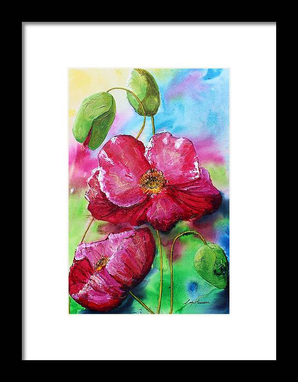Original Art Canvas Large Painting Poppy Flowers Floral Bright Pretty Summery Colourful Red Pink Framed Print featuring the painting Magenta Poppies by Christina Maassen
