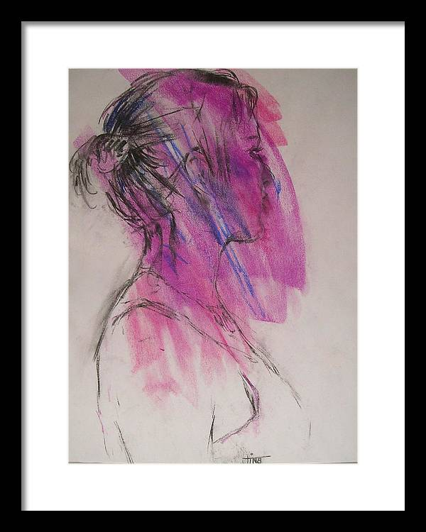 Portrait Framed Print featuring the painting Magenta by Tina Siddiqui