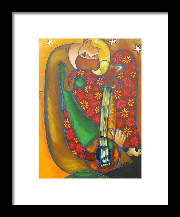 Abstract Expressionism Framed Print featuring the painting Maggie Guitar by Marta Giraldo
