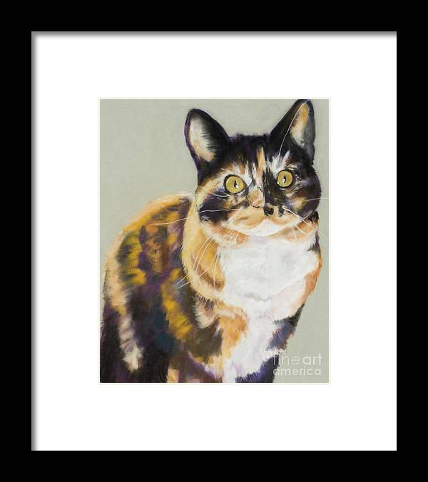 Calico Framed Print featuring the painting Maggie Mae by Pat Saunders-White