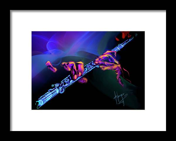 Flute Framed Print featuring the painting Magic Flute by DC Langer