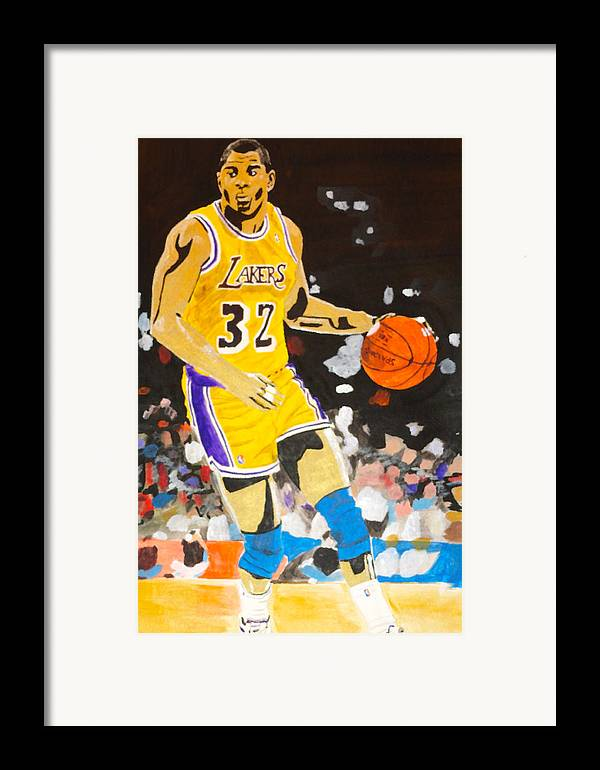 Magic Johnson Framed Print featuring the painting Magic Johnson by Estelle BRETON-MAYA
